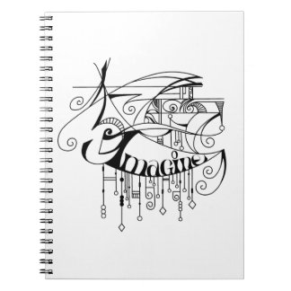 Black Imagine In Lines and Dangles Spiral Notebook
