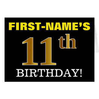 "Black, Imitation Gold ""11th BIRTHDAY"" Card"