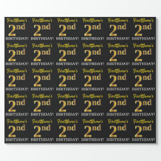 """Black, Imitation Gold """"2nd BIRTHDAY"""" Wrapping Paper"""