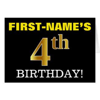 "Black, Imitation Gold ""4th BIRTHDAY"" Card"