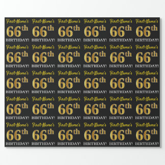 "Black, Imitation Gold ""66th BIRTHDAY"" Wrapping Paper"