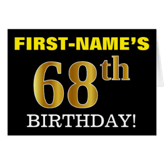 "Black, Imitation Gold ""68th BIRTHDAY"" Card"