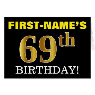 "Black, Imitation Gold ""69th BIRTHDAY"" Card"