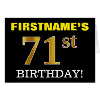 "Black, Imitation Gold ""71st BIRTHDAY"" Card"