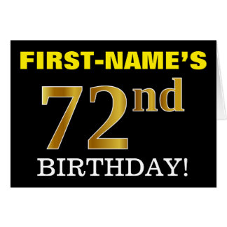 "Black, Imitation Gold ""72nd BIRTHDAY"" Card"