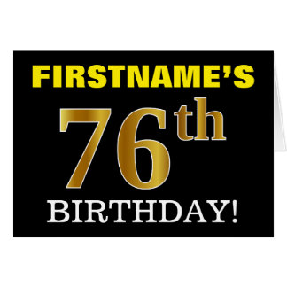 "Black, Imitation Gold ""76th BIRTHDAY"" Card"
