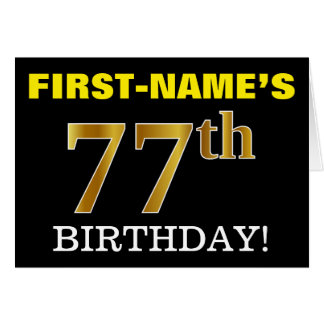 "Black, Imitation Gold ""77th BIRTHDAY"" Card"