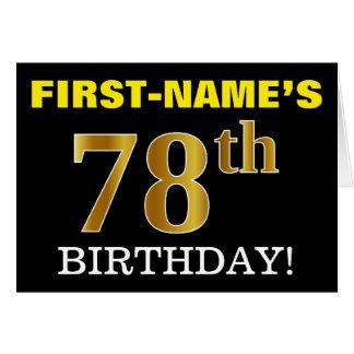 "Black, Imitation Gold ""78th BIRTHDAY"" Card"