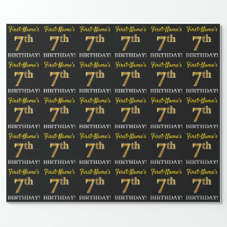"""Black, Imitation Gold """"7th BIRTHDAY"""" Wrapping Paper"""