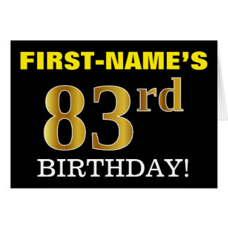 "Black, Imitation Gold ""83rd BIRTHDAY"" Card"