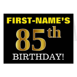 "Black, Imitation Gold ""85th BIRTHDAY"" Card"