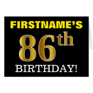 "Black, Imitation Gold ""86th BIRTHDAY"" Card"