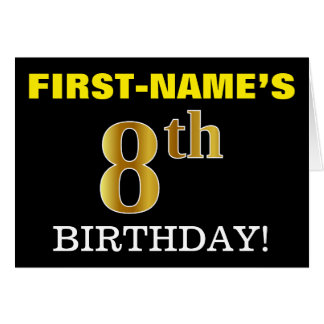 "Black, Imitation Gold ""8th BIRTHDAY"" Card"