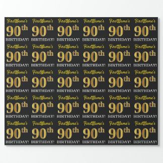 "Black, Imitation Gold ""90th BIRTHDAY"" Wrapping Paper"