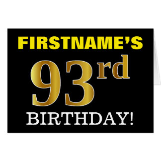 "Black, Imitation Gold ""93rd BIRTHDAY"" Card"