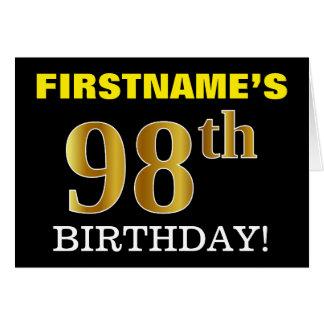 "Black, Imitation Gold ""98th BIRTHDAY"" Card"