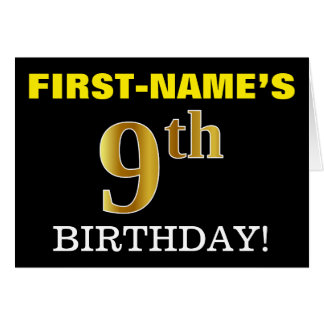 "Black, Imitation Gold ""9th BIRTHDAY"" Card"