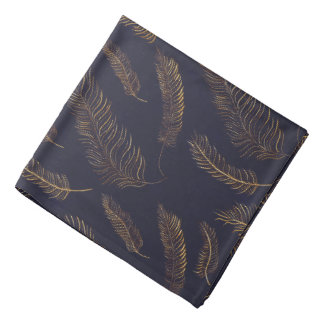 Black Indigo with Golden Feathers Bandana