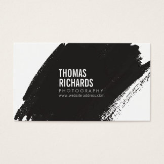 Black Ink Grunge Brushstroke Photographers Business Card