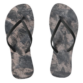 Black Ink on Brown Background Flip Flops