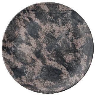 Black Ink on Brown Background Plate