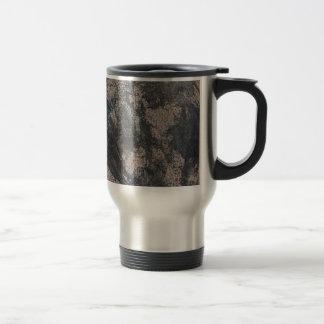 Black Ink on Brown Background Travel Mug