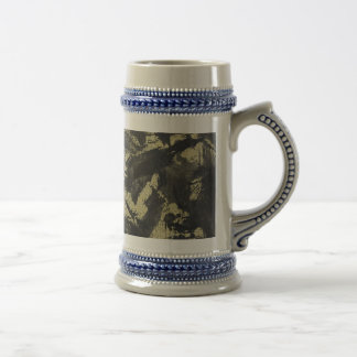 Black Ink on Gold Background Beer Stein