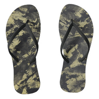 Black Ink on Gold Background Flip Flops