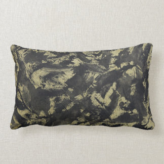 Black Ink on Gold Background Lumbar Pillow