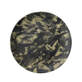 Black Ink on Gold Background Plate