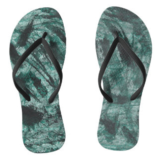 Black Ink on Green Marker Flip Flops