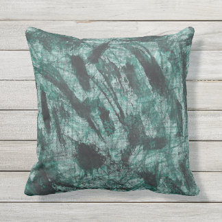 Black Ink on Green Marker Outdoor Pillow