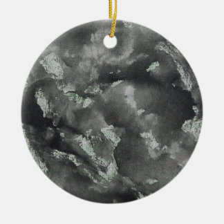 Black Ink on Green Washable Marker Round Ceramic Ornament