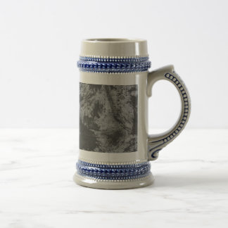 Black Ink on Grey Background Beer Stein