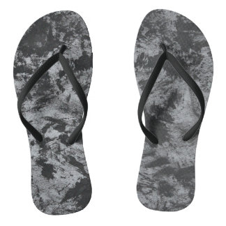 Black Ink on Grey Background Flip Flops