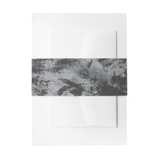 Black Ink on Grey Background Invitation Belly Band