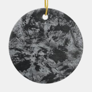 Black Ink on Grey Background Round Ceramic Ornament