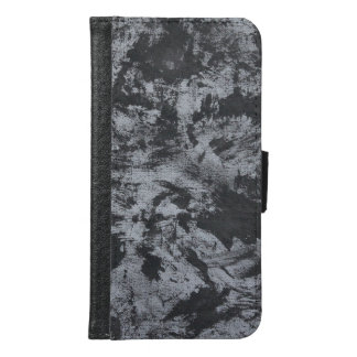 Black Ink on Grey Background Samsung Galaxy S6 Wallet Case