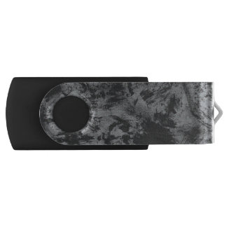 Black Ink on Grey Background USB Flash Drive