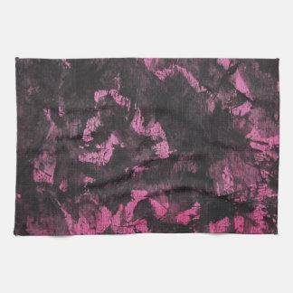 Black Ink on Pink Background Kitchen Towel