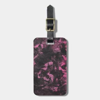 Black Ink on Pink Background Luggage Tag