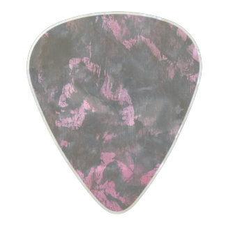 Black Ink on Pink Background Pearl Celluloid Guitar Pick