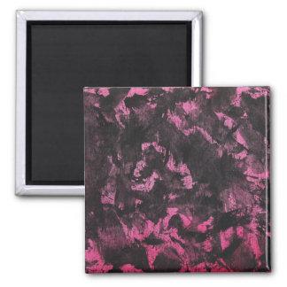 Black Ink on Pink Background Square Magnet