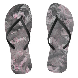 Black Ink on Pink Highlighter Flip Flops