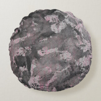 Black Ink on Pink Highlighter Round Pillow