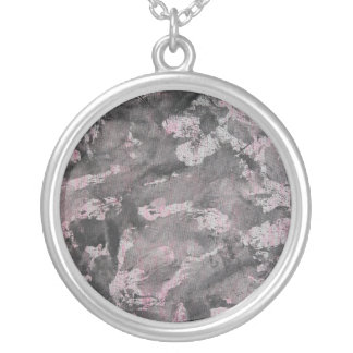 Black Ink on Pink Highlighter Silver Plated Necklace