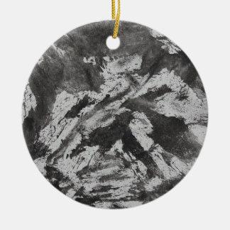 Black Ink on White Background #2 Ceramic Ornament