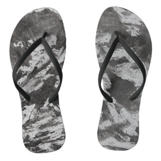 Black Ink on White Background #2 Flip Flops
