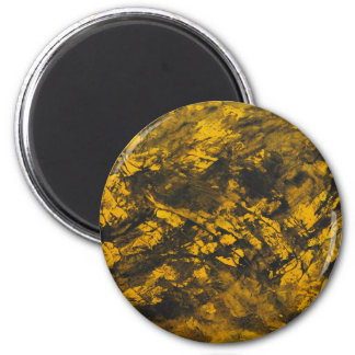Black Ink on Yellow Background 2 Inch Round Magnet