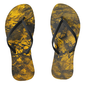 Black Ink on Yellow Background Flip Flops
